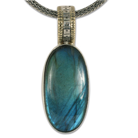 One of a Kind Solaris Labradorite Pendant in 14K Yellow Gold Design w Sterling Silver Base