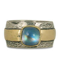 One of a Kind Moonstone Hammered Ring in 14K Yellow Gold Design w Sterling Silver Base