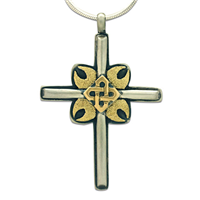 One of a Kind Magda Cross in 14K Yellow Gold Design w Sterling Silver Base