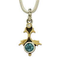 One of a Kind Persephone Aquamarine Pendant in 18K Yellow Gold Design w Sterling Silver Base