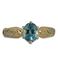One of a Kind Flores Aquamarine Ring in 14K Yellow Gold Center w 14K White Gold Base