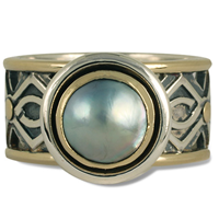 One of a Kind Pictish Ring in 14K Yellow Gold Design w Sterling Silver Base