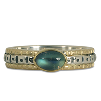 One of a Kind Solaris Moonstone Ring in 14K Yellow Gold Design w Sterling Silver Base