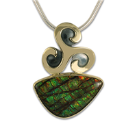 One of a Kind Triscali Ammolite Pendant in 14K Yellow Gold Design w Sterling Silver Base