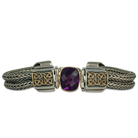 One of a Kind Renee Amethyst Bracelet in 14K Yellow Gold Design w Sterling Silver Base