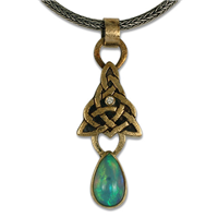One of a Kind Ethiopian Opal Articulating Pendant in 14K Yellow Gold Design w Sterling Silver Base