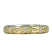 One of a Kind Borderless Rope Ring with Diamonds in 18K Yellow Gold Borders w 14K White Gold Center & Base