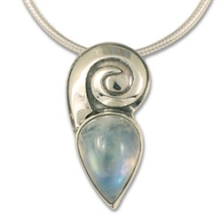One of a Kind Moonstone Swirl Pendant in Sterling Silver