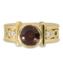 One of a Kind Open Rope Ring with Portuguese Cut Garnet in 18K Yellow Gold Borders & Center w Sterling Silver Base