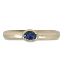 One of a Kind Classic Comfort Fit Engagement Ring with Sapphire in 14K White Gold