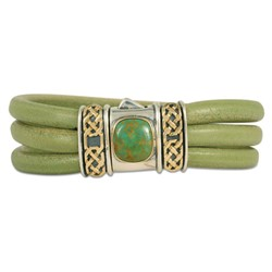 One of a Kind Turquoise Shannon Leather Bracelet in 14K Yellow Gold Design w Sterling Silver Base