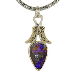 One of a Kind Moon Boulder Opal Pendant in 14K Yellow Gold & 18K Yellow Gold w Sterling Silver