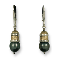 One of a Kind Wistra Black Pearl Earrings in 14K Yellow Gold Design w Sterling Silver Base