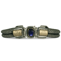 One of a Kind Wistra Bracelet with Iolite in 14K Yellow Gold Design w Sterling Silver Base