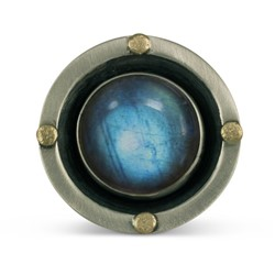 One of a Kind Constellation Ring with Labradorite in 14K Yellow Gold Design w Sterling Silver Base