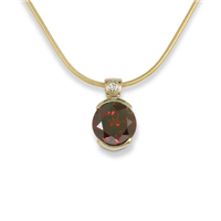 Portugese Cut Garnet Pendant with diamond 14K Gold with Gold Filled Chain in 14K Yellow Gold
