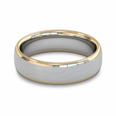 Fairtrade Gold White and Yellow Two Color Men s Wedding Ring in 18K White & Yellow Gold