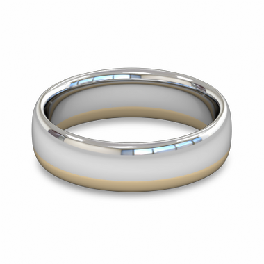 Fairtrade Gold Yellow and White Two Tone Men s Wedding Ring in 18K White & Yellow Gold