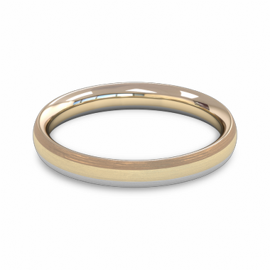 Fairtrade Gold Custom Three Color Wedding Ring in 18K White, Yellow & Rose Gold