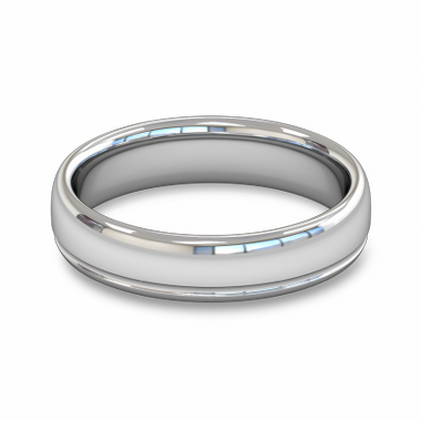 Fairtrade Gold Grooved Court Men s Wedding Ring in 14K White Gold