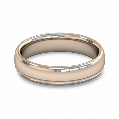 Fairtrade Gold Grooved Court Men s Wedding Ring in 18K Rose Gold