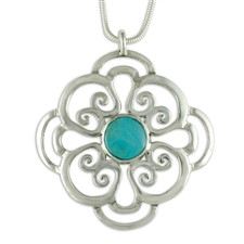 Rose Silver and Turquoise Pendant in Sterling Silver