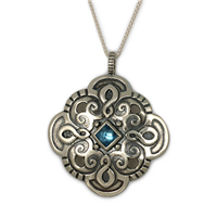 Castillo Pendant in Swiss Blue Topaz