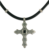Aedan Cross Necklace on Leather with Side Beads in Sterling Silver