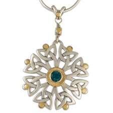Arbor Dangle Pendant in 14K Yellow Gold Design w Sterling Silver Base