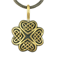 Clover Heart Necklace in 18K Yellow Gold Design w Sterling Silver Base