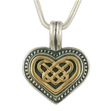 Heart Pendant  in 14K Yellow Gold Design w Sterling Silver Base
