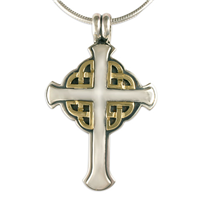 Interlace Cross in 14K Yellow Design/Sterling Base