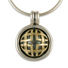 Interlace Pendant in 14K Yellow Gold Design w Sterling Silver Base