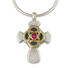 Sita Cross with Gem in 14K Yellow Gold Design w Sterling Silver Base