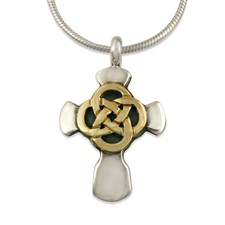 Sita Cross in 14K Yellow Design/Sterling Base