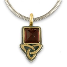 Aria Square Pendant  in 14K Yellow Design/Sterling Base
