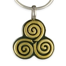 Driscol Pendant in 14K Yellow Gold Design w Sterling Silver Base