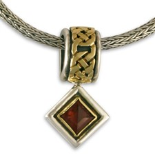 Luna Square Pendant in 14K Yellow Gold Design w Sterling Silver Base
