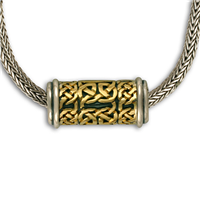 Byzantine Slider in 14K Yellow Gold Design w Sterling Silver Base