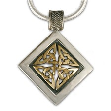 Orkney Pendant in 14K Yellow Design/Sterling Base