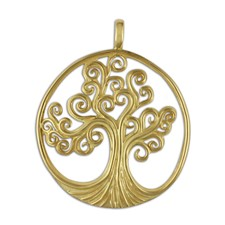 Tree of Life Pendant 14K Large in 14K Yellow Gold