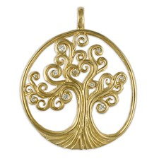 Tree of Life Pendant 18K with Gems  in 18K Yellow Gold