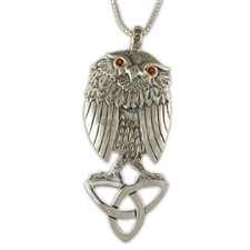 Trinity Owl Pendant in Sterling Silver