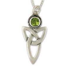 Trinity Pendant with Gem in Peridot