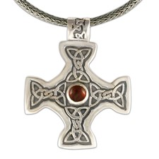 Columba s Cross on Woven Chain in Sterling Silver