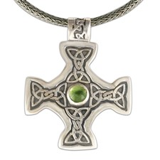 Columba s Cross on Woven Chain in Peridot