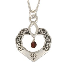 Anam Cara Pendant with Gem in Sterling Silver