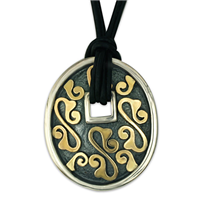 Shield Pendant in 14K Yellow Gold Design w Sterling Silver Base