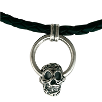 Skull  Leather Necklace in Sterling Silver