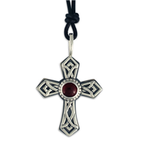 Pictish Cross with Gem on Leather in Sterling Silver